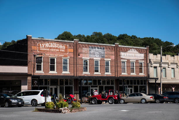 Shops on the Square in Lynchburg stock photo