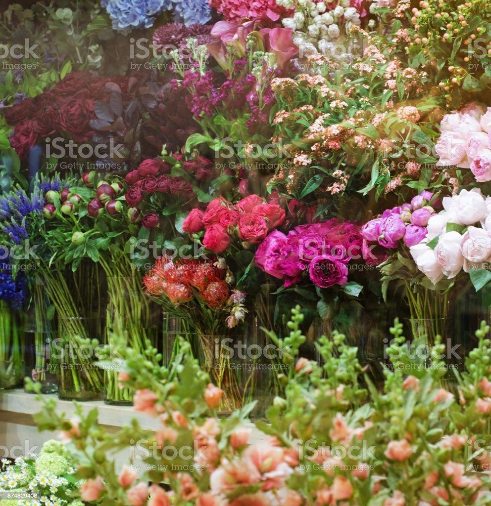 Shopwindow of flowers store stock photo