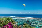 海岸と青い海の熱帯の島でパラグライダー。
