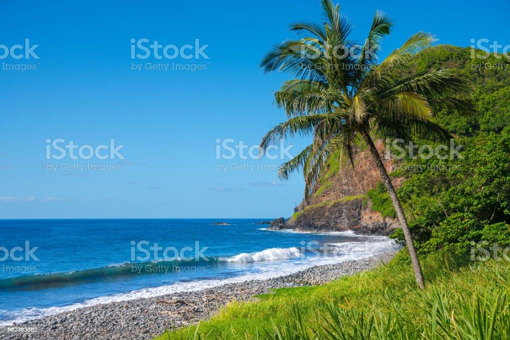 Shore at south coast of Maui, Hawaii stock photo