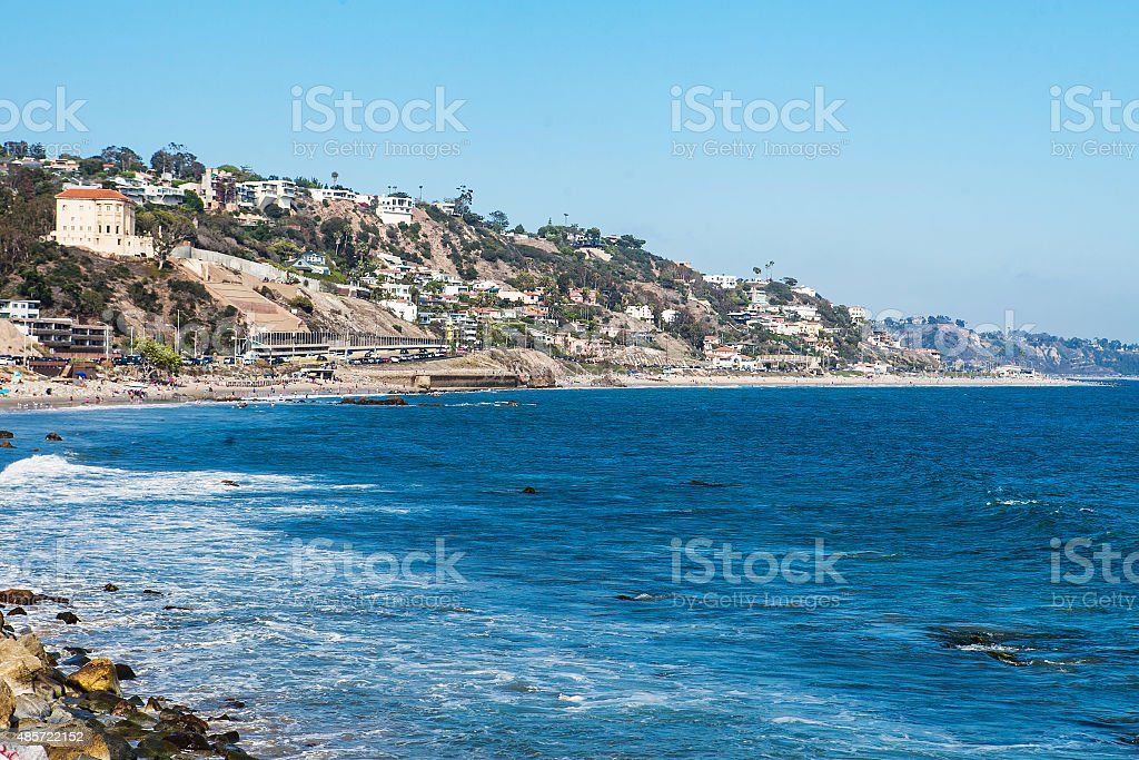 Shore in Malibu. Summer day at the pacific ocean stock photo