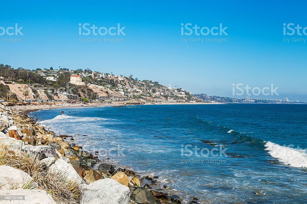 Shore in Malibu. Sunny day at the pacific ocean stock photo