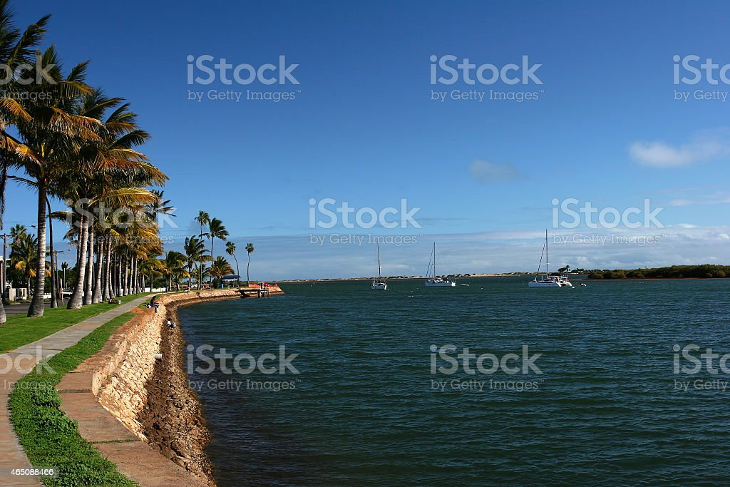 Shore Line Promenade with Sailing Boats stock photo