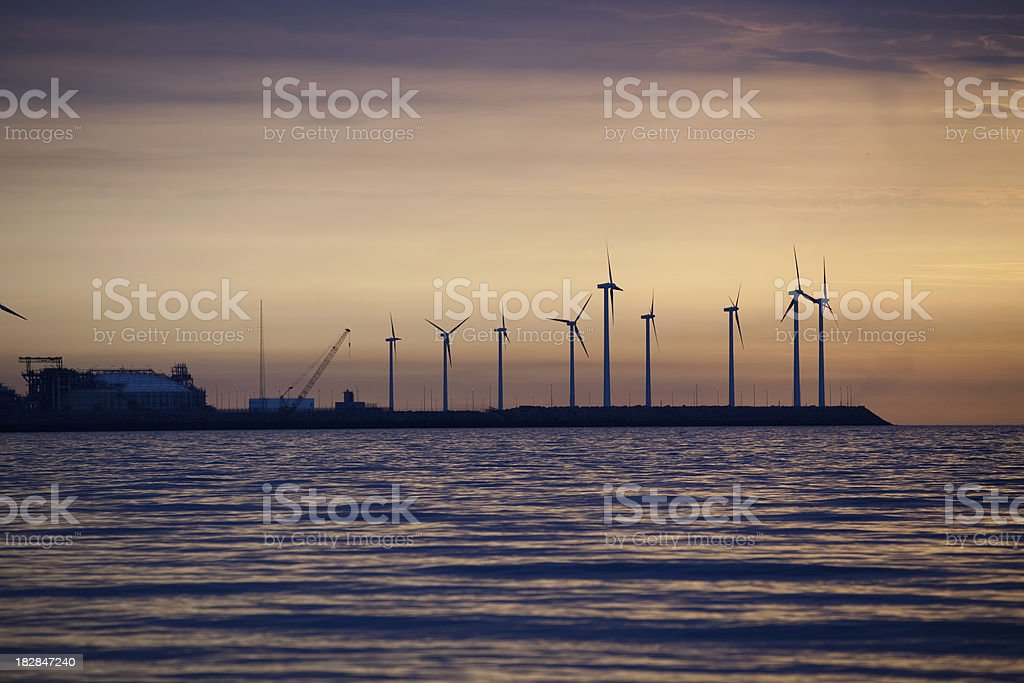Shore Line Wind Turbines royalty-free stock photo