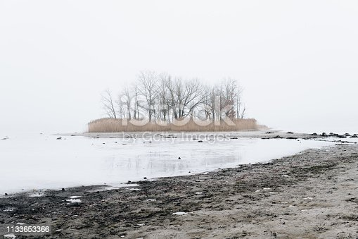 istock shore of a lake covered with ice and snow 1133653366