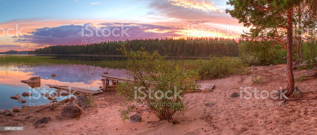 Shore of lake and beautiful sky in evening royalty-free stock photo