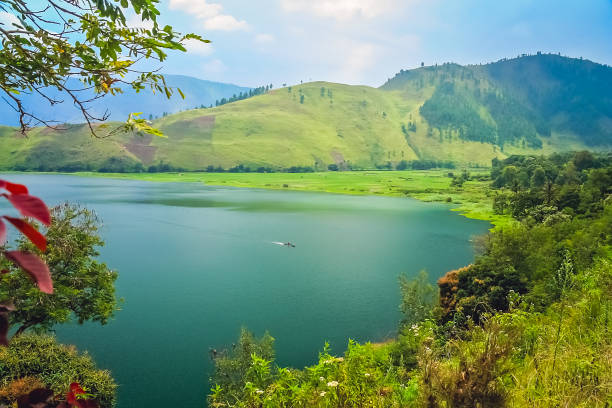 Shore of the magnificent Lake Toba in Sumatra stock photo