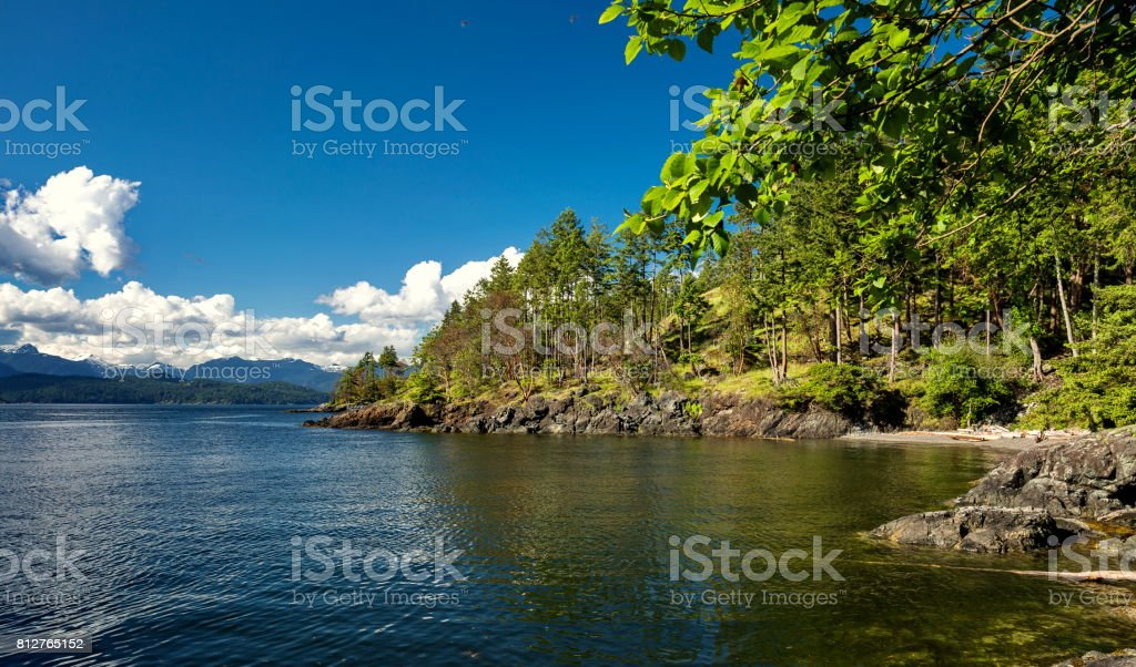 Shore of the northern sea stock photo