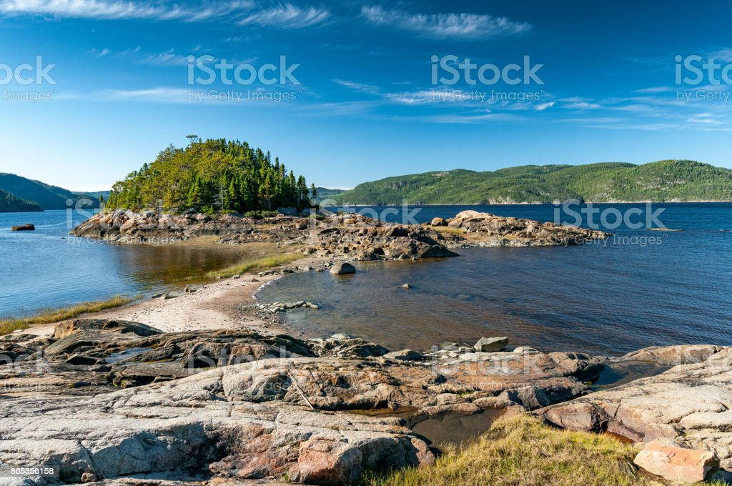 Shore of the Saguenay Fjord stock photo