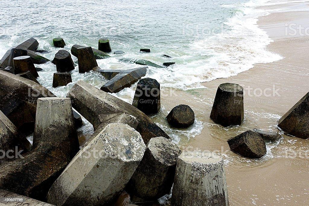 Shore Protection Concrete Barriers stock photo