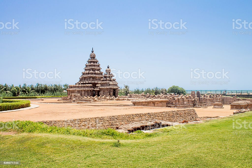 Shore temple in Mahabalipuram, India stock photo