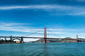 Shoreline view of the Golden Gate Bridge.\n\nTaken in San Francisco, California, USA,
