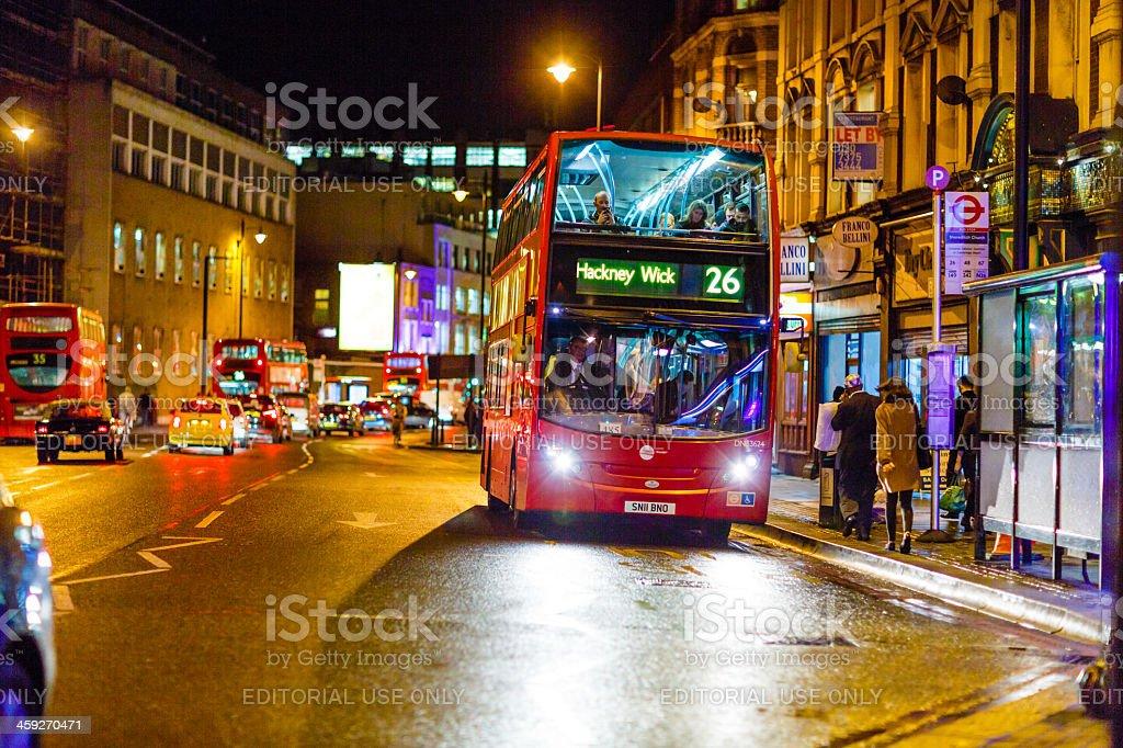 Shoreditch High Street, London at night royalty-free stock photo