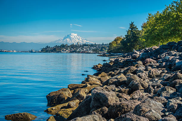 Shoreline And Rainier A view of Mount Rainier from Ruston, Washington. puget sound stock pictures, royalty-free photos & images