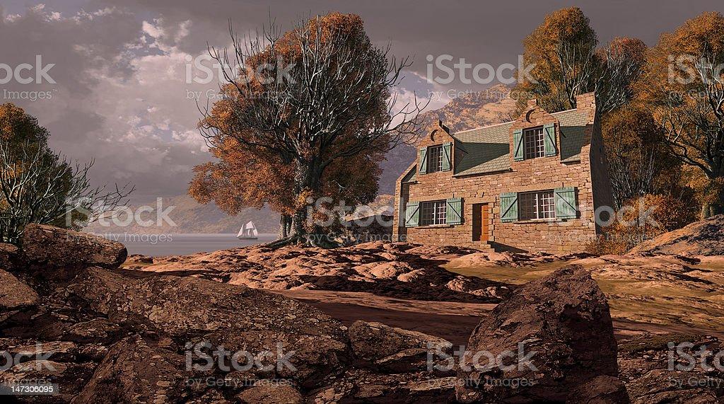 Shoreline Cottage royalty-free stock photo
