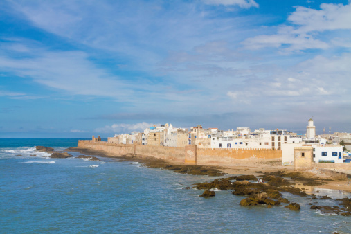 Shoreline Landscape Of Essaouira In Magador Marrakech Stock Photo - Download Image Now