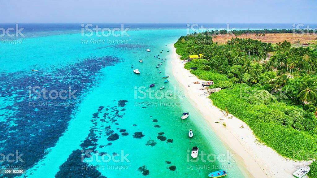 Shoreline of a tropical island in the Maldives stock photo