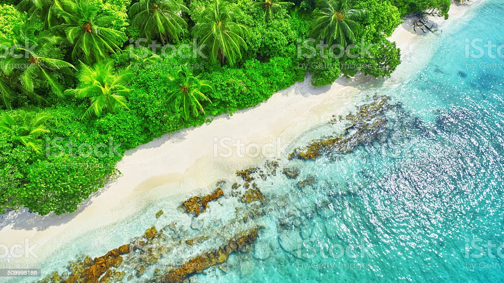 Shoreline of a tropical island in the Maldives. stock photo