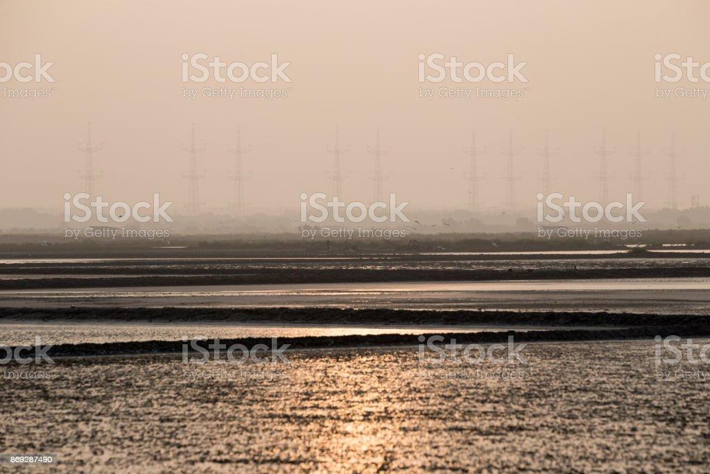 Küste der Insel Ameland, Blick über das Wattenmeer – Foto