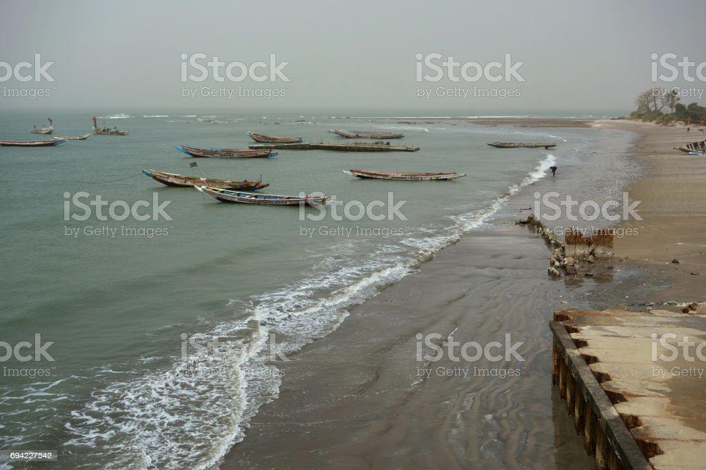 Shoreline of Barra, The Gambia stock photo