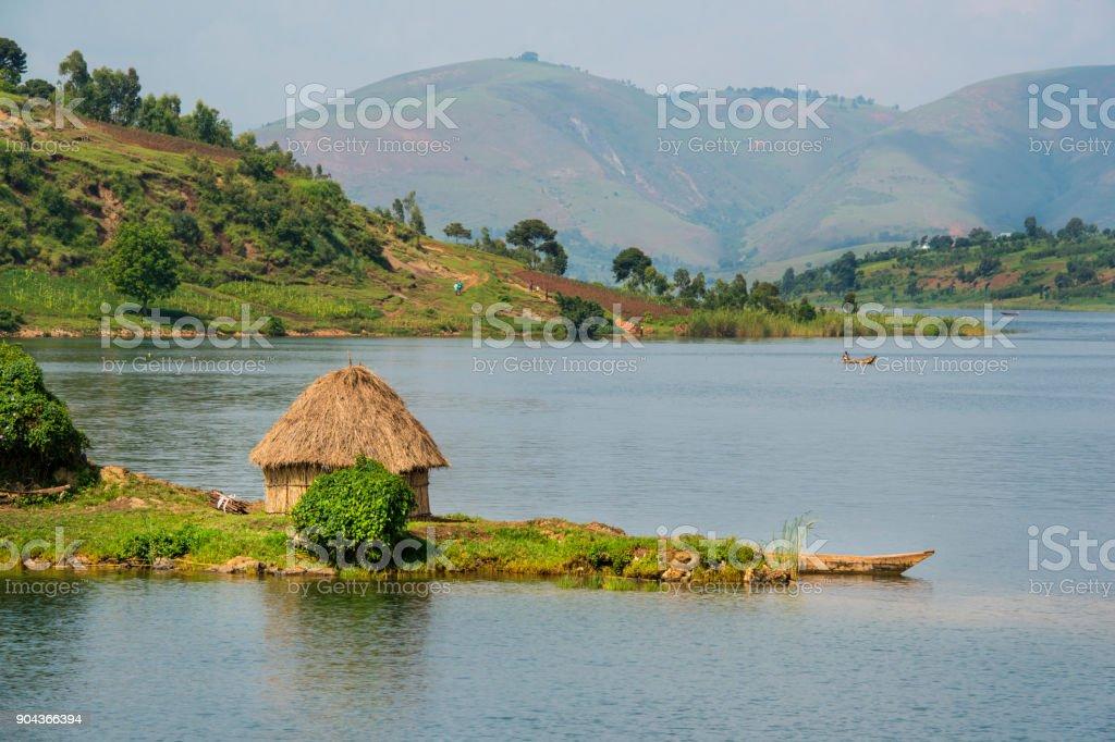 Shoreline of Lake Kivu, Congo, Africa stock photo