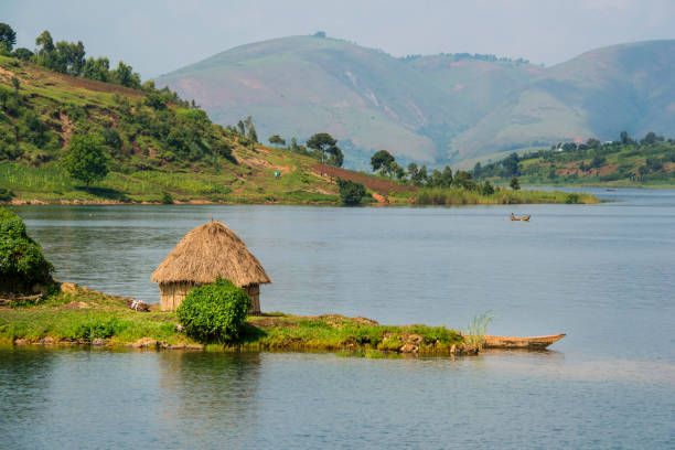 shoreline of lake kivu, congo, africa - democratic republic of the congo stock photos and pictures