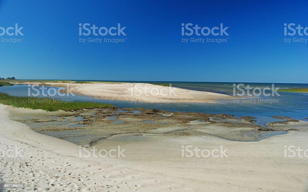 Shoreline of Wellfleet Bay in Cape Cod. stock photo