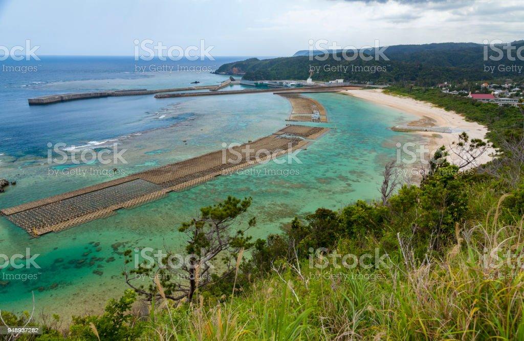 Shoreline of YanBaru stock photo