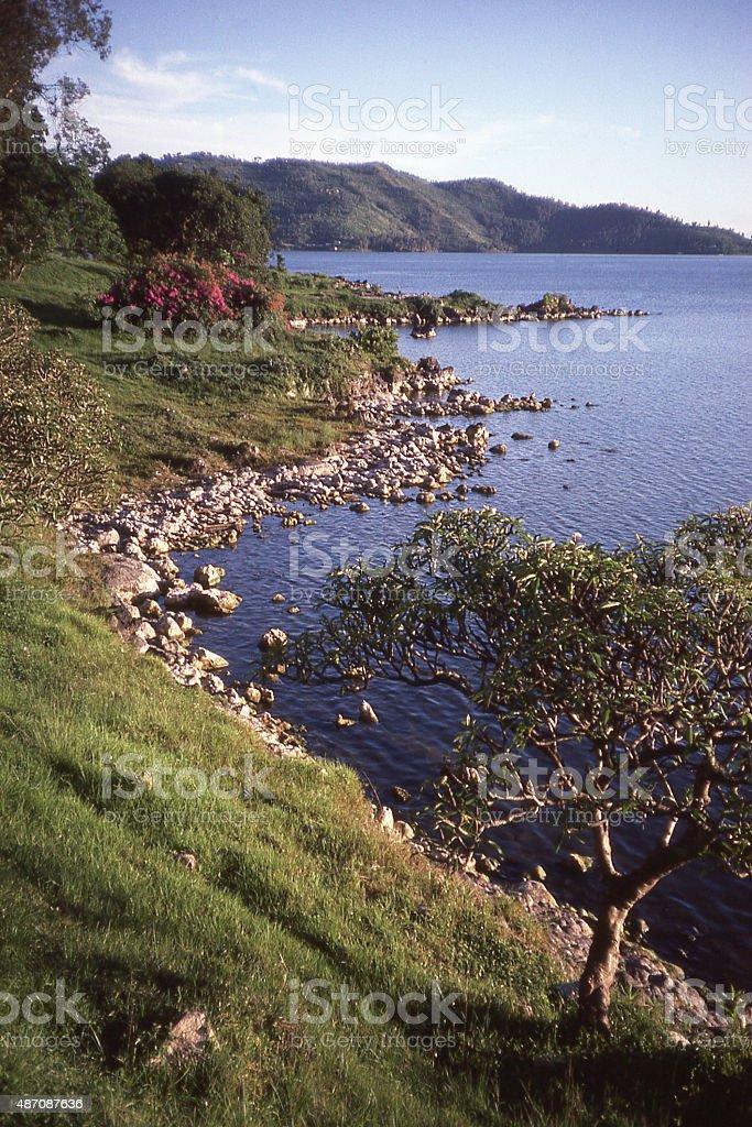 Shoreline public park beach Lake Kivu Gisenyi Rwanda Central Africa stock photo