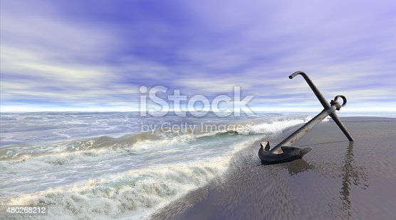 istock Shoreline with anchor 480268212