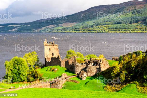 Shores of loch ness lake with urquhart castle in foreground scotland picture id1071906918?b=1&k=6&m=1071906918&s=612x612&h=xkoc1uhdwnrgyrxgde40u kgtx3bvacvotion gjmjk=