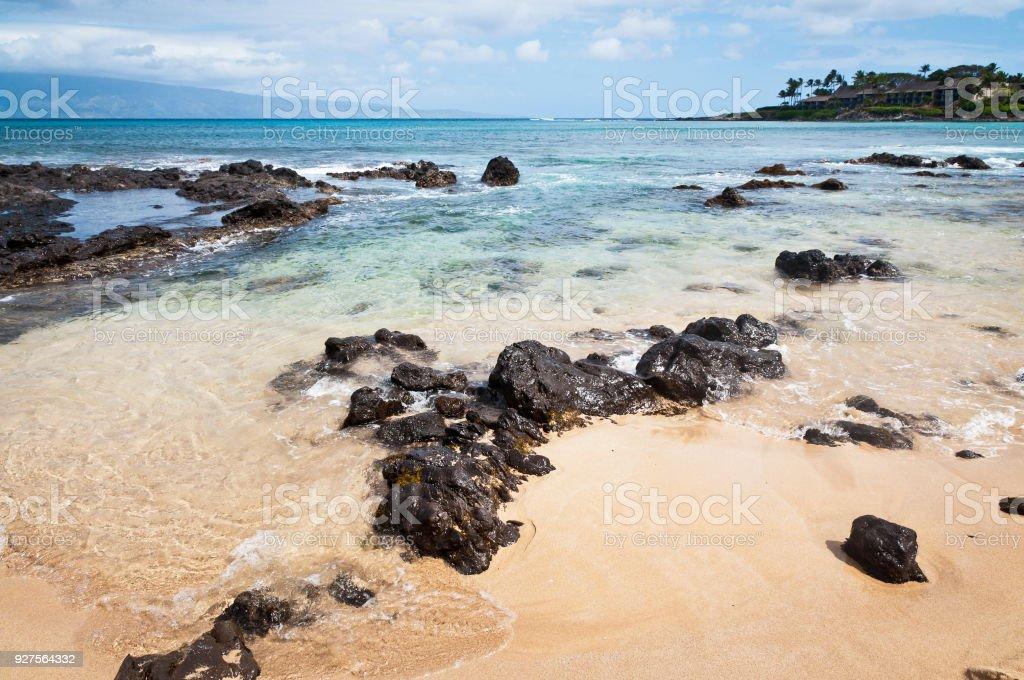 Shores of Napili Bay stock photo