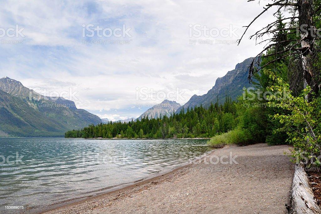 Shores of Saint Mary's Lake and mountains, Montana royalty-free stock photo
