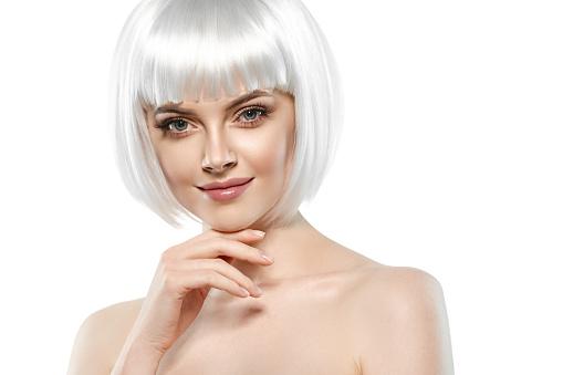 Kurze Blonde Haare Frau Platin Bob Frisur Stockfoto Und Mehr Bilder Von Attraktive Frau