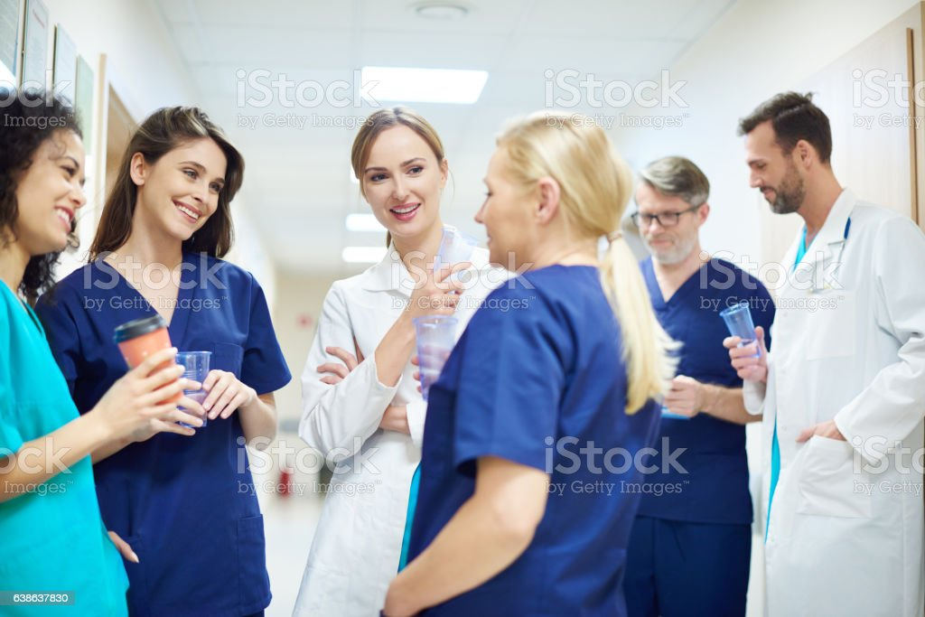 Short break of busy doctors stock photo