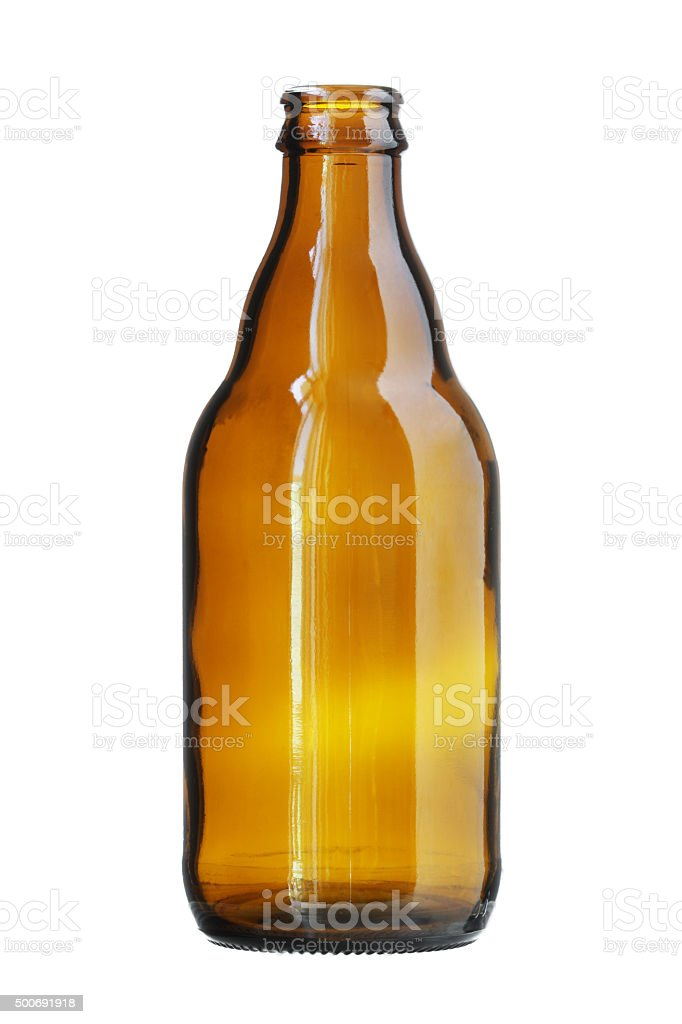 Short Brown Beer Bottle isolated on white background stock photo
