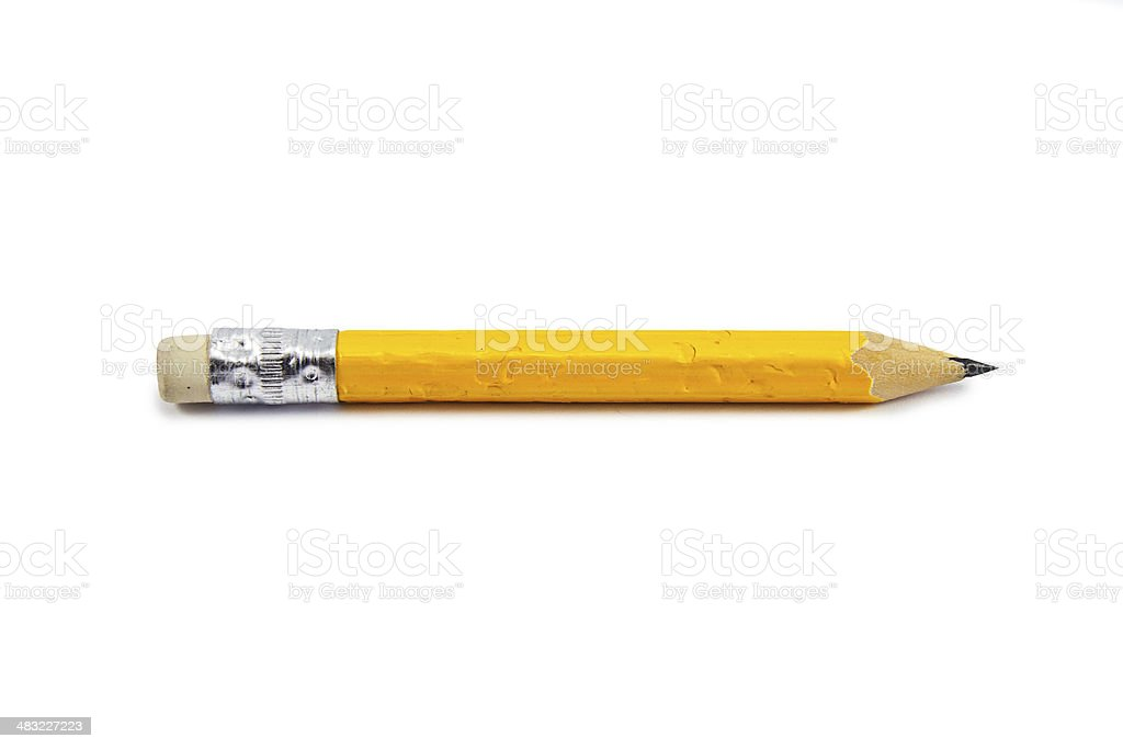 short, chewed up pencil stub stock photo