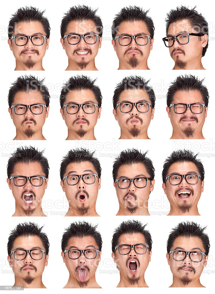 short hair beard asian man with glasses expression set isolated royalty-free stock photo