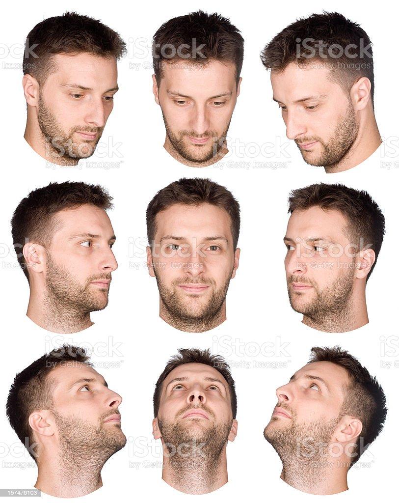 Kurze Haare Mann Gesicht Sammlung Von Verschiedenen Ausblick Stock