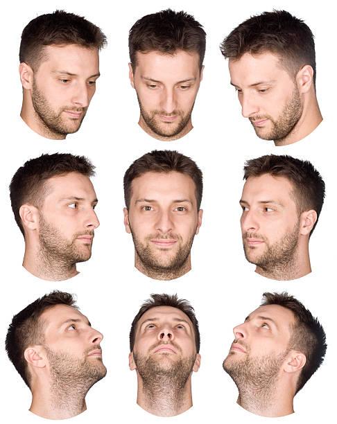 capelli corti di uomo viso collezione in varie viste - guardare verso il basso foto e immagini stock