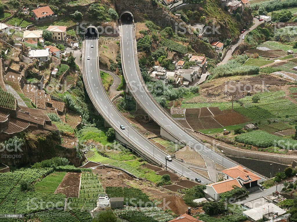 Short highway section between two tunnels near Funchal, Madeira royalty-free stock photo