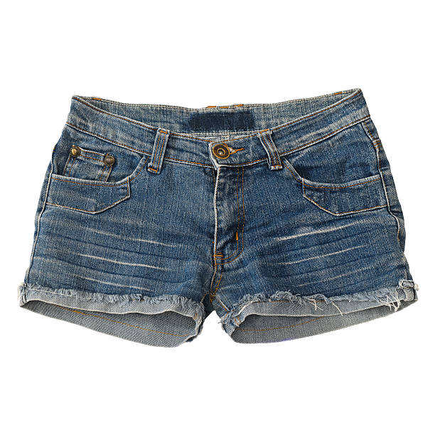 en jean courte seul sur fond blanc - Photo