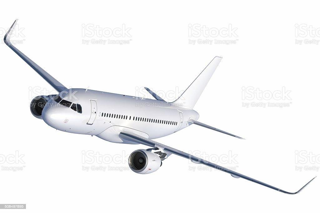 Short Passenger Jet in flight from front left stock photo
