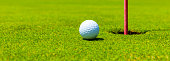 Center the hole with the golf ball
