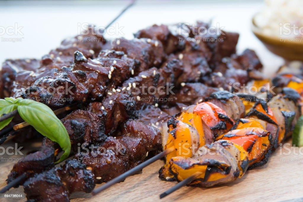 BBQ Short Ribs Shish Kebabs Korean Style stock photo