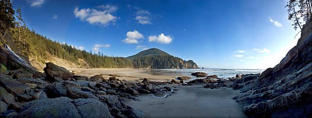 Short Sands Beach Oregon Panorama stock photo