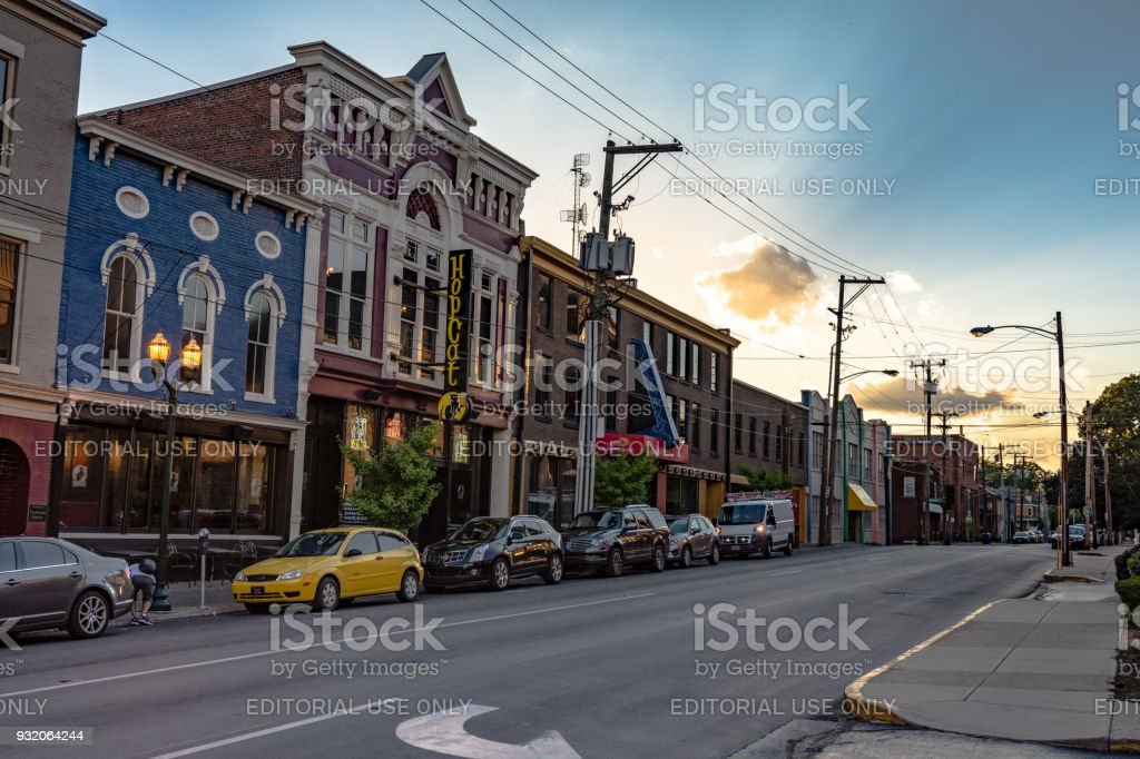 Short Street Lexington A view of the historic buildings down Short Street in Lexington during golden hour. Arch - Architectural Feature Stock Photo