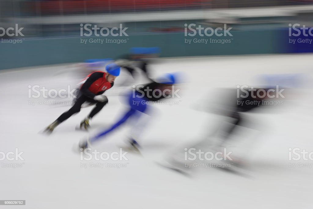 Short Track Speed Skating Competitions stock photo