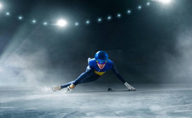 shorttrack-eisschnelllauf - skirennen stock-fotos und bilder