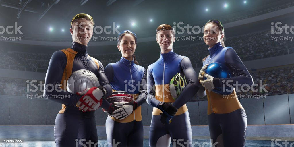 Short Track team in professional ice arena stock photo